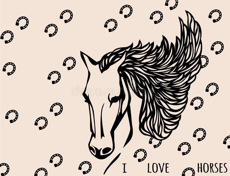 Silhueta do vetor de um cavalo árabe Crescendo a juba, o fundo de uma ferradura Eu amo cavalos ilustração royalty free
