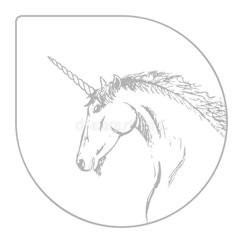 Silhueta do vetor de um unicórnio Esboço cinzento e branco para um cartão ou um logotipo Garatuja feito a mão ilustração royalty free