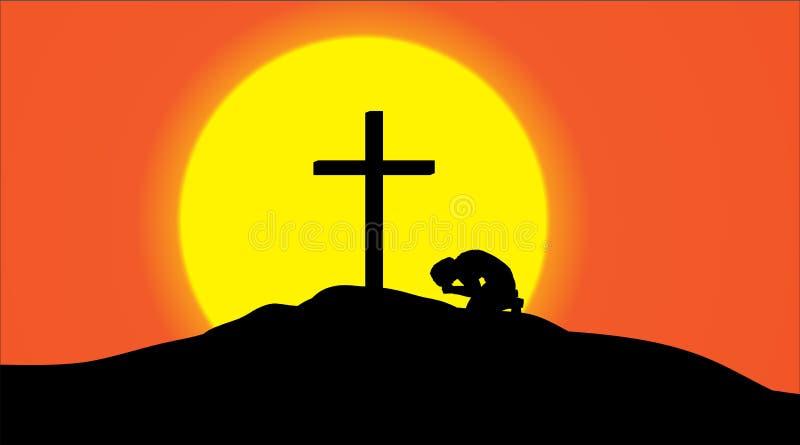 Silhueta do vetor de uma cruz ilustração royalty free