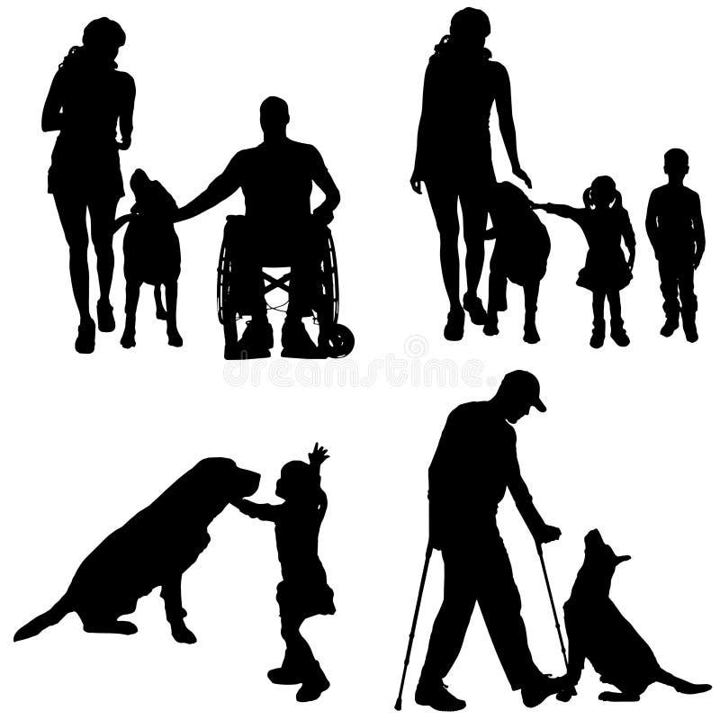 Silhueta do vetor de uma família ilustração stock