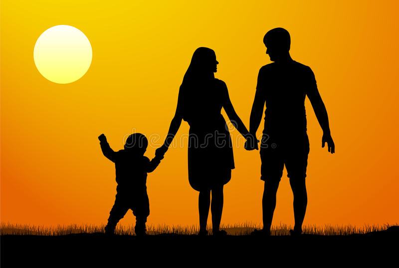 Silhueta do vetor de uma família no por do sol Criança da mulher do homem no alvorecer ilustração royalty free