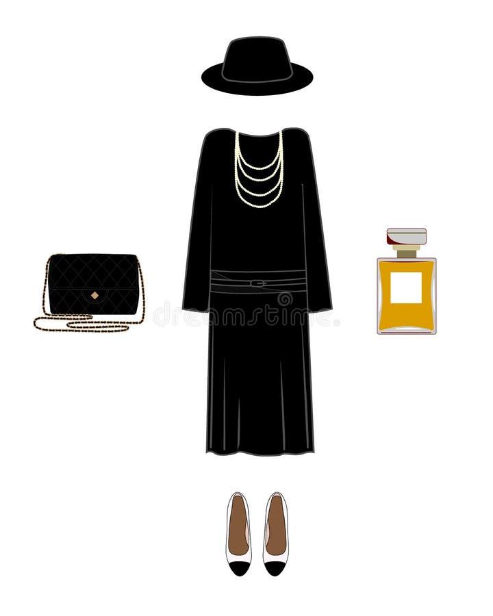 Silhueta do vetor de uma imagem do clássico da senhora Vestido, sapatas, chapéu, saco, e perfume ilustração royalty free