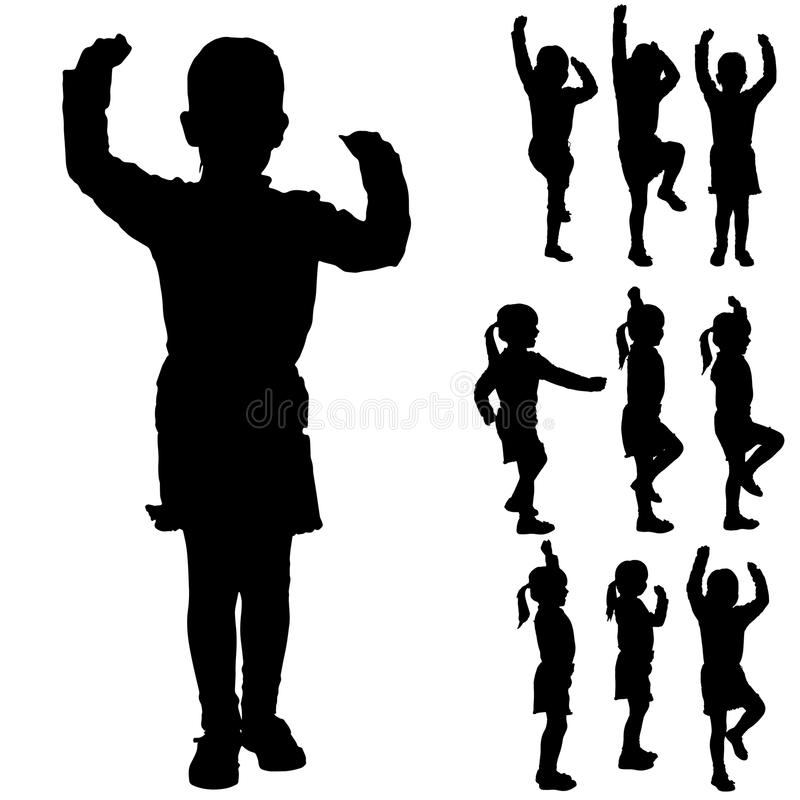 Silhueta do vetor de uma menina ilustração do vetor