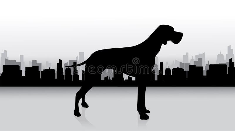 Silhueta do vetor do cão ilustração royalty free