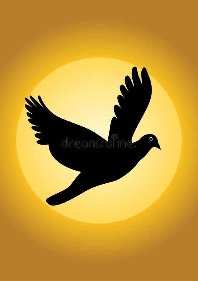 Silhueta do vetor do pássaro ilustração royalty free
