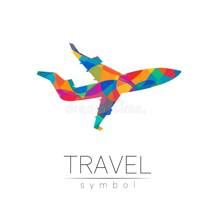 Silhueta do vetor dos aviões isolada no fundo branco Símbolo do avião, estilo moderno do arco-íris da cor Logotype para ilustração do vetor