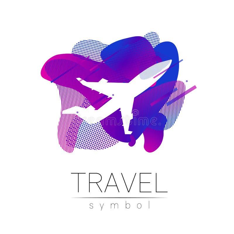Silhueta do vetor dos aviões isolada no fundo líquido Símbolo do avião, estilo moderno do arco-íris da cor Logotype para ilustração do vetor