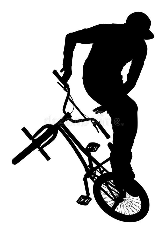 Silhueta do vetor dos conluios da bicicleta Executor da bicicleta exercitando a figura acrobática Complique o truque ilustração do vetor