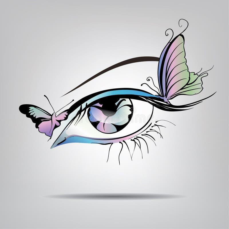 Silhueta do vetor dos olhos com borboletas ilustração stock
