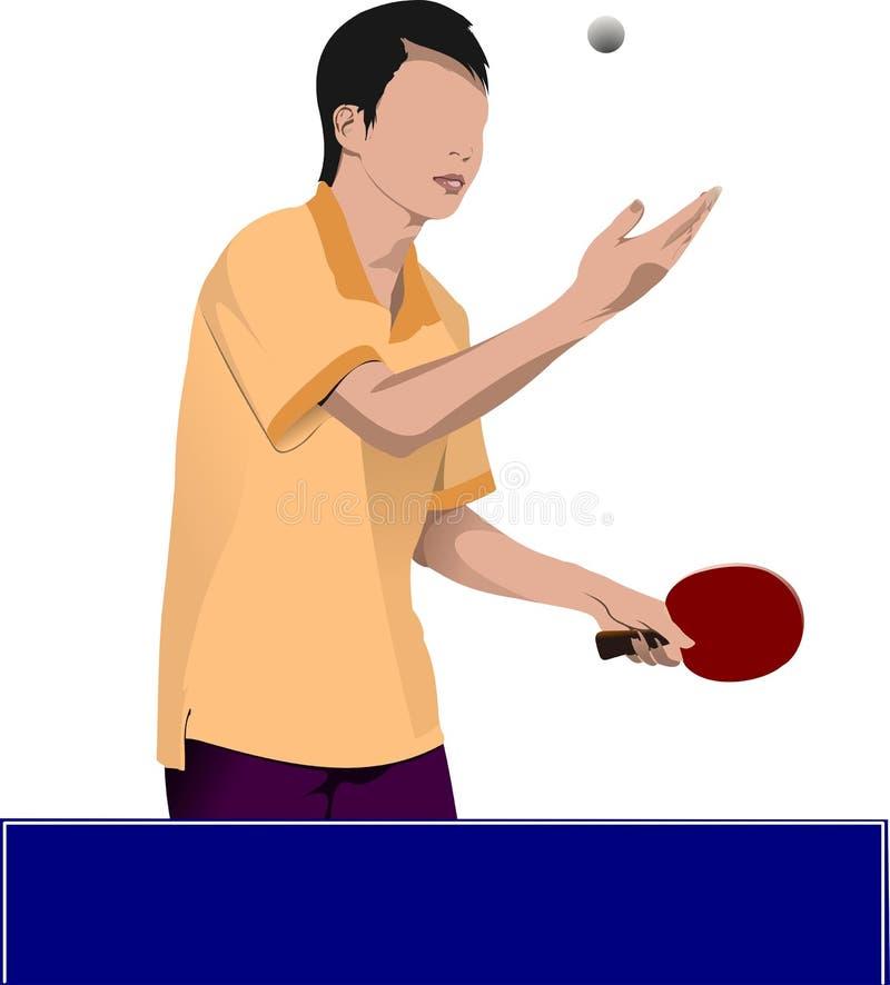 Silhueta do vetor do jogador do pong do sibilo ilustração do vetor
