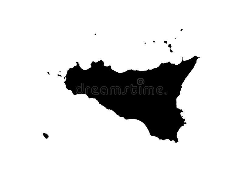 Silhueta do vetor do mapa do estado de Sicília ilustração royalty free