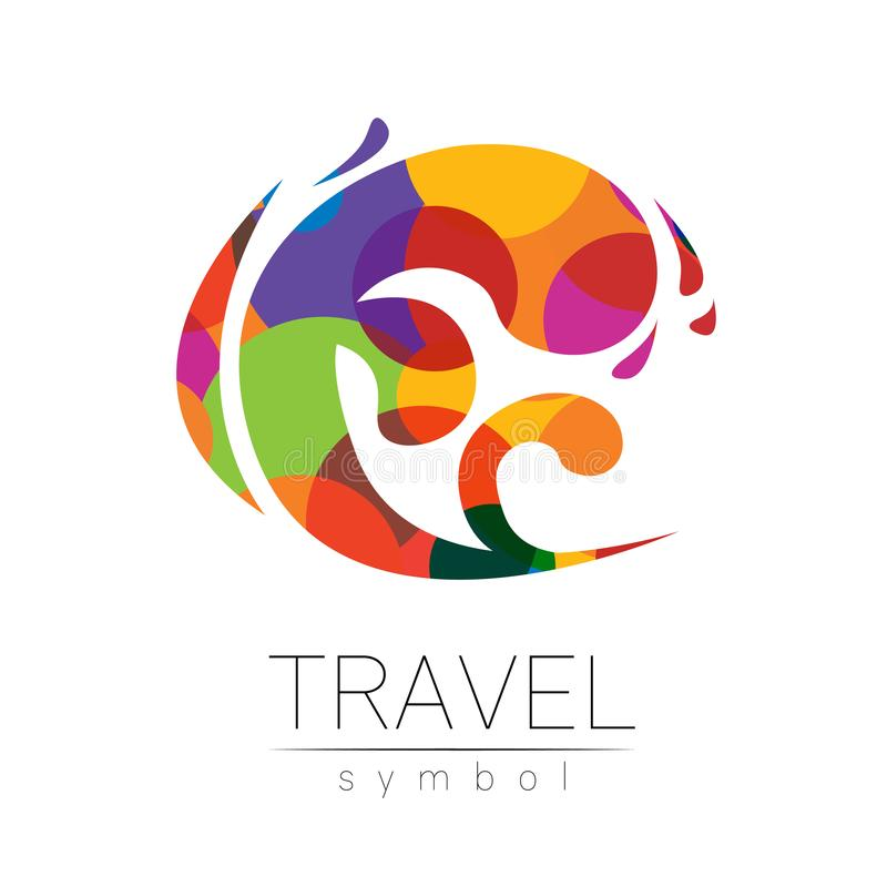Silhueta do vetor do mar da onda isolada no fundo branco Símbolo do oceano, estilo moderno do arco-íris da cor Logotype para ilustração do vetor