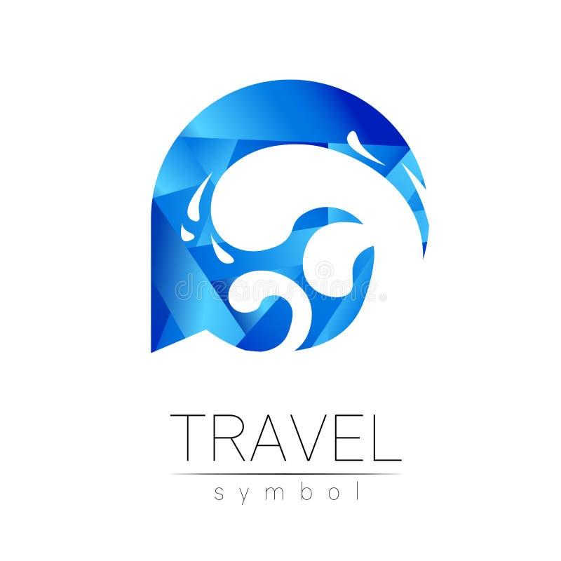 Silhueta do vetor do mar da onda isolada no fundo branco Símbolo do oceano, estilo moderno azul da cor Logotype para o curso ilustração royalty free
