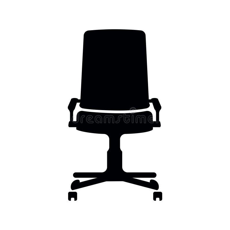 Silhueta do vetor do preto do ícone da cadeira do escritório isolada ilustração do vetor
