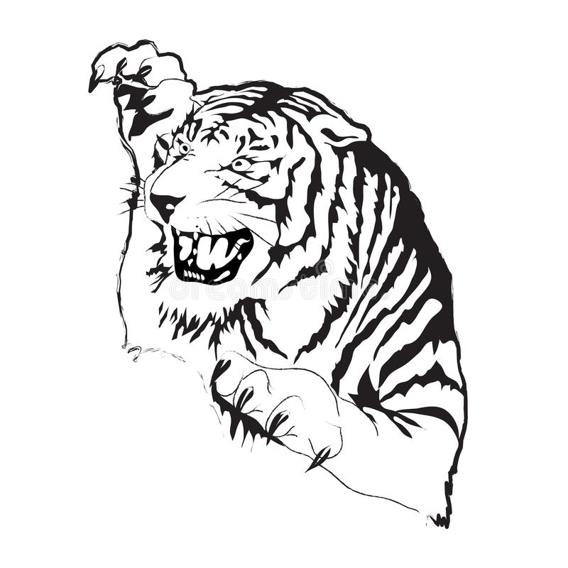 Silhueta do vetor do tigre imagens de stock