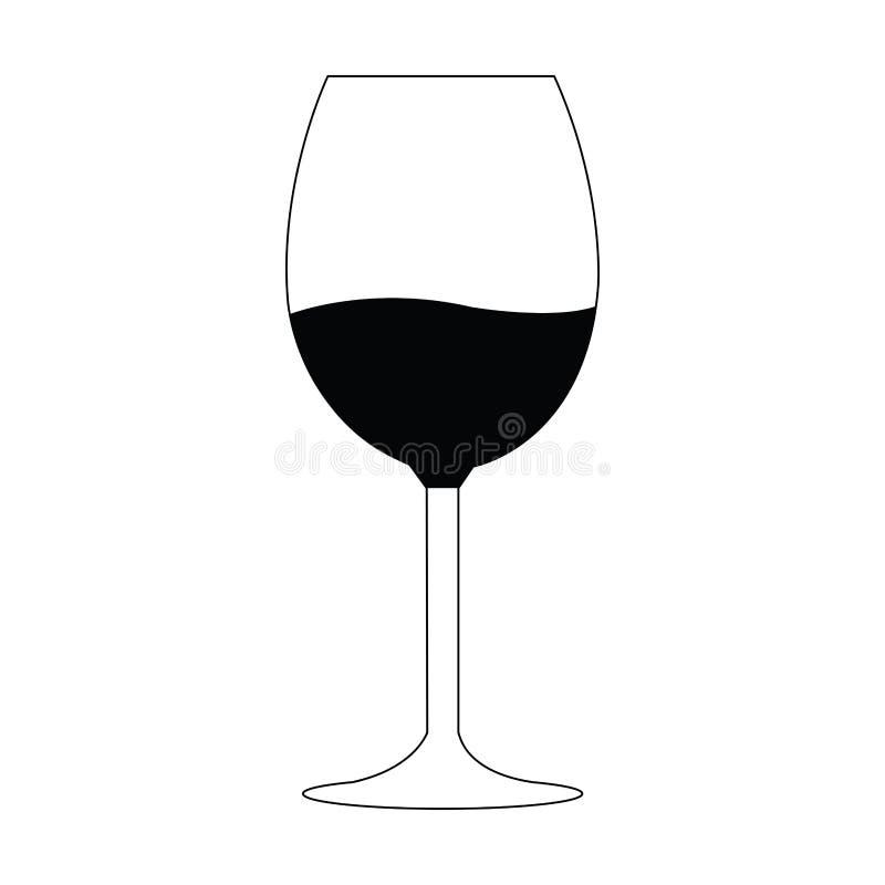 Silhueta do vidro de vinho ilustração do vetor