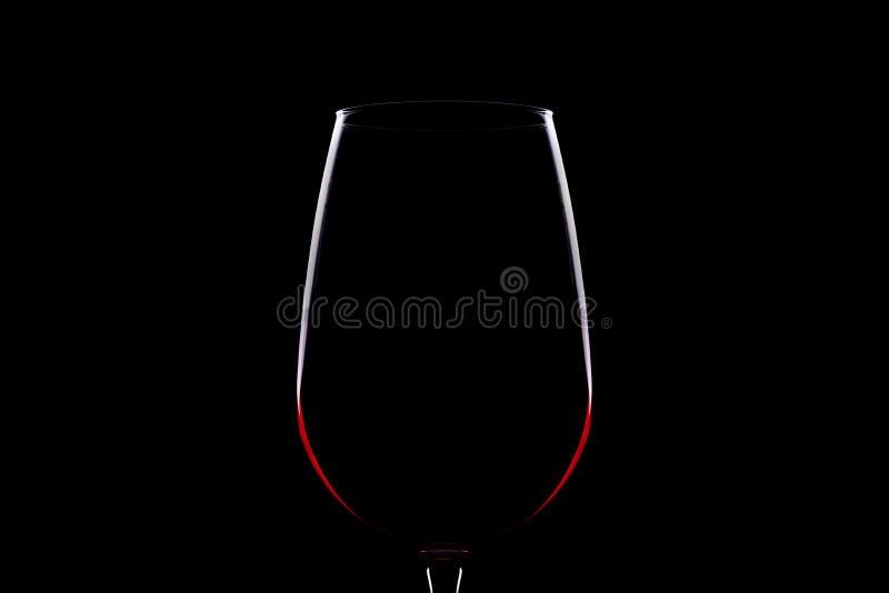 Silhueta do vidro de vinho fotografia de stock