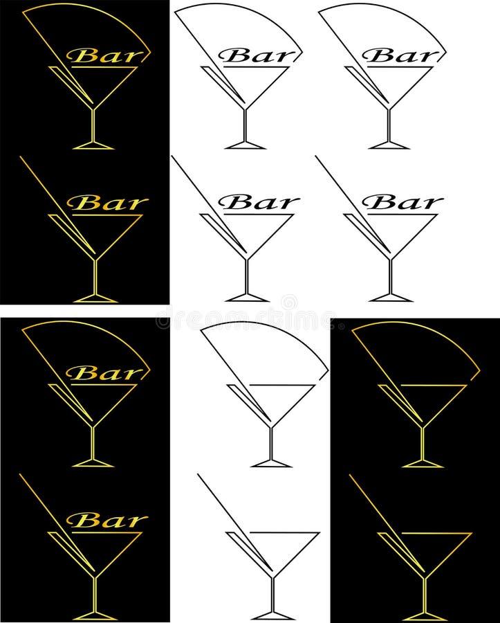 Silhueta do vidro do logotipo minimalista da barra do cocktail dos contornos ilustração do vetor