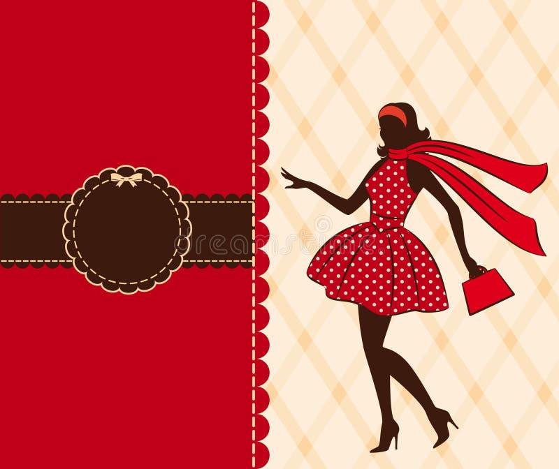 Silhueta do vintage da menina. ilustração stock