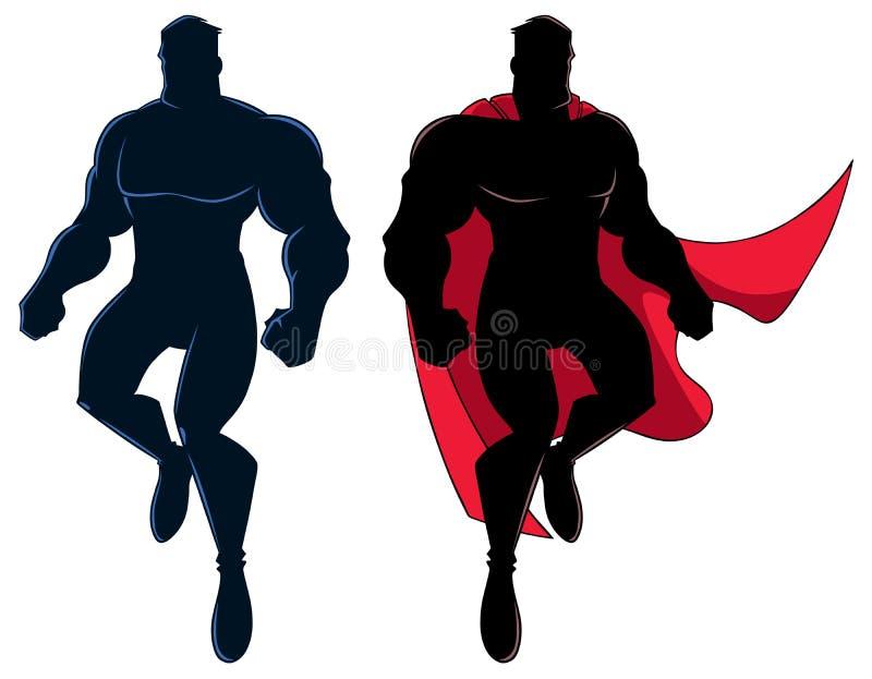 Silhueta do voo do super-herói ilustração royalty free