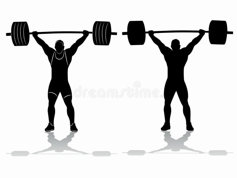 Silhueta do weightlifter, desenho do vetor ilustração royalty free