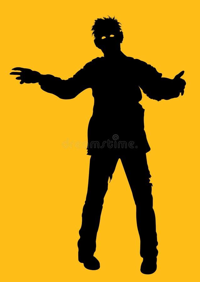 Silhueta do zombi ilustração do vetor