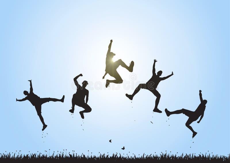Silhueta dos amigos que saltam sobre o prado no fundo do céu azul, no conceito feliz da vida, do vencimento e da realização ilustração royalty free