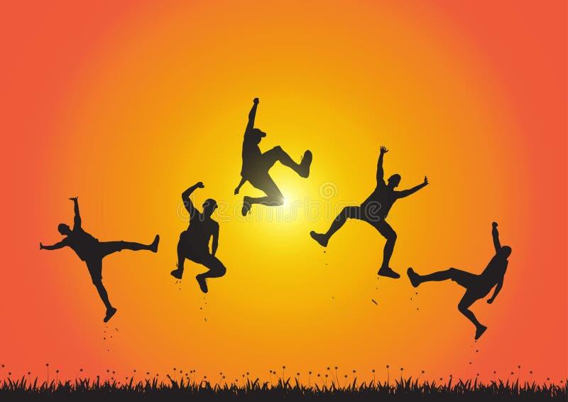 Silhueta dos amigos que saltam sobre o prado no fundo dourado do nascer do sol, no conceito feliz da vida, do vencimento e da rea ilustração do vetor