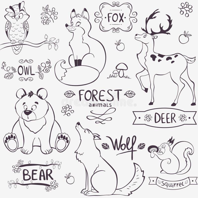 Silhueta dos animais da floresta