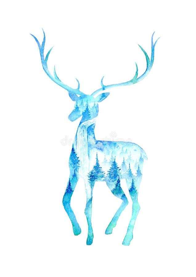 Silhueta dos cervos Imagem do animal selvagem Paisagem com cachoeira ilustração royalty free