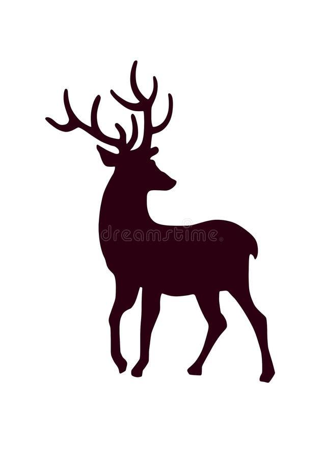 Silhueta dos cervos - imagem isolada do vetor ilustração royalty free