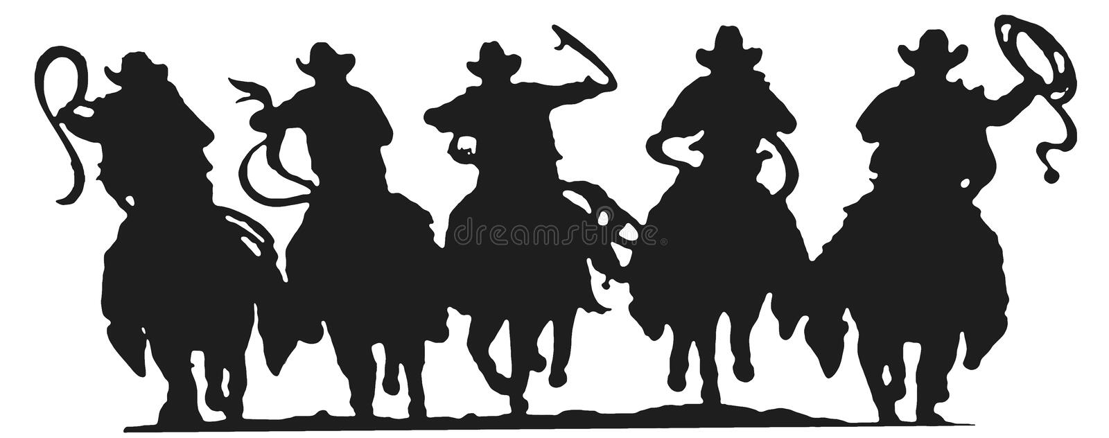 Silhueta dos cowboys foto de stock royalty free