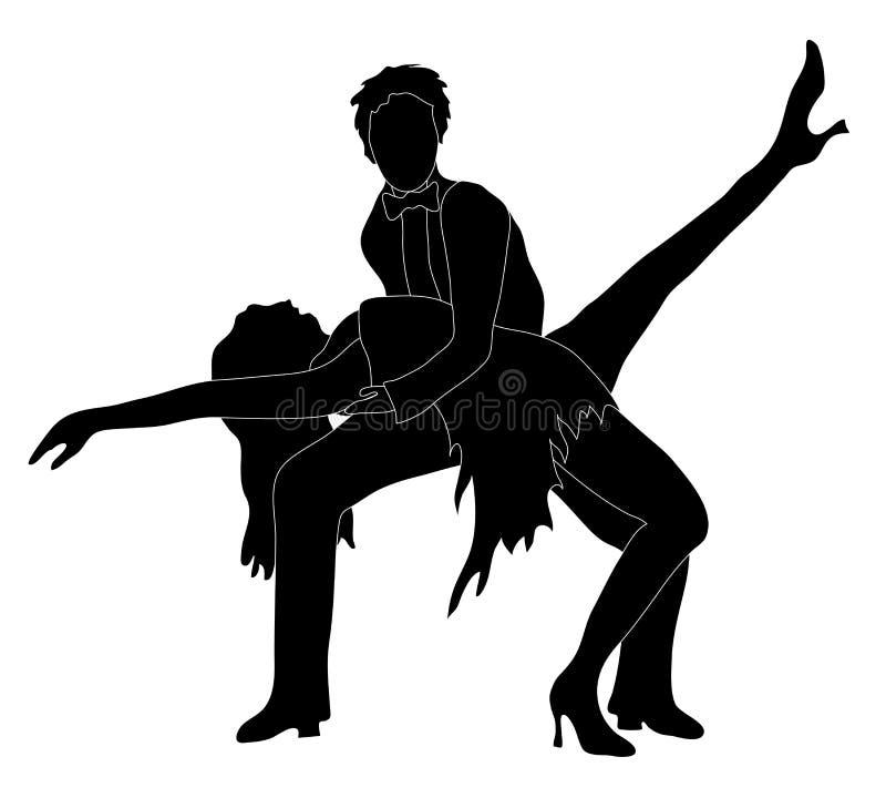 Silhueta dos dançarinos   ilustração royalty free