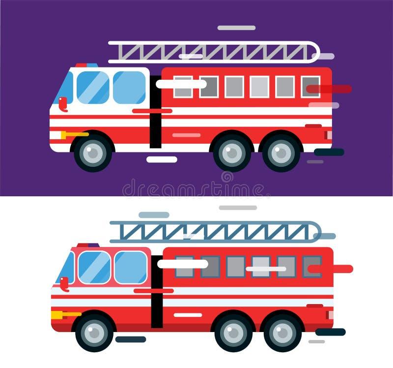 Silhueta dos desenhos animados do vetor do carro do carro de bombeiros ilustração stock