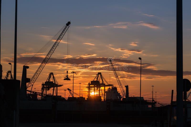 Silhueta dos guindastes no trabalho no Boatyard no por do sol foto de stock royalty free