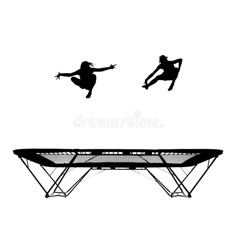 Silhueta dos gymnasts no trampoline fotografia de stock royalty free