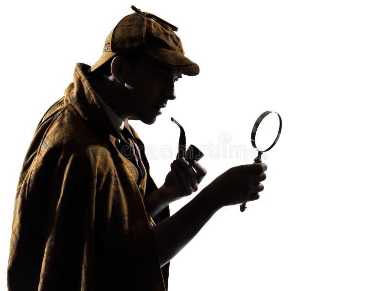 Silhueta dos holmes de Sherlock fotografia de stock