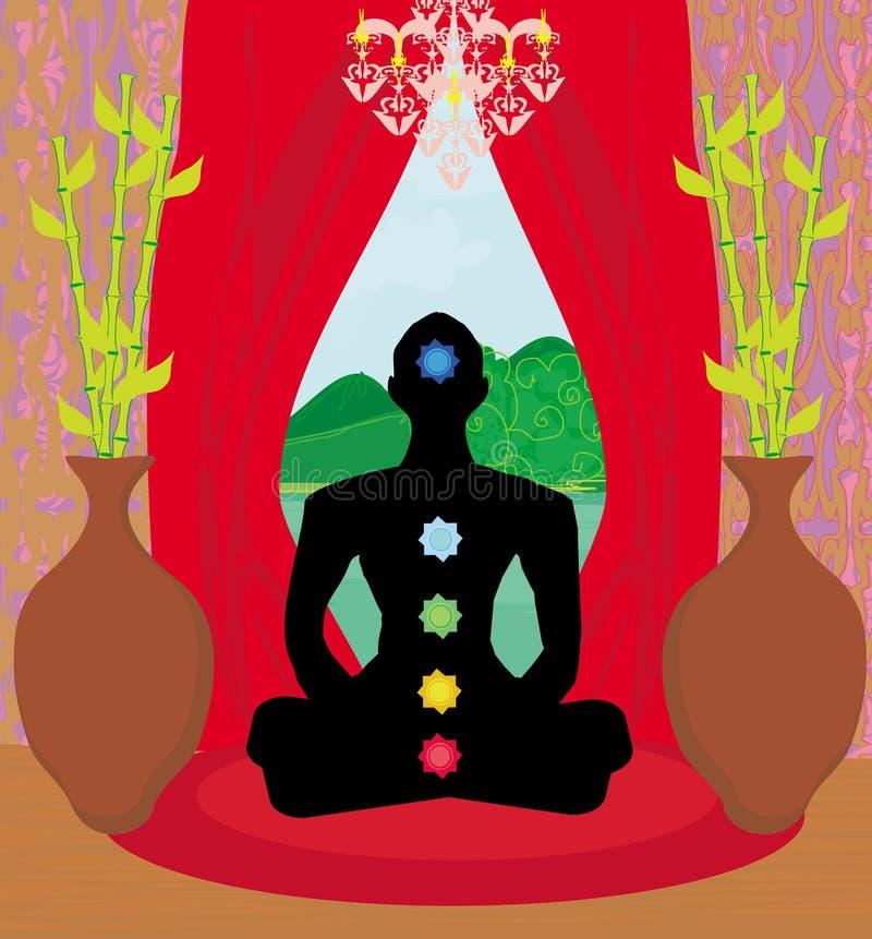 Silhueta dos homens - pontos do chakra ilustração stock