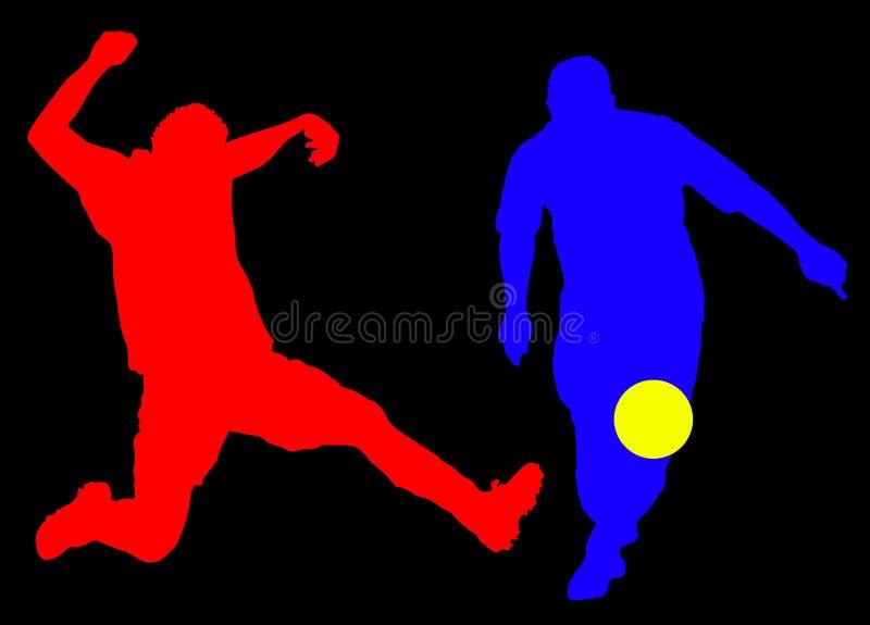 Silhueta dos jogadores de futebol ilustração stock