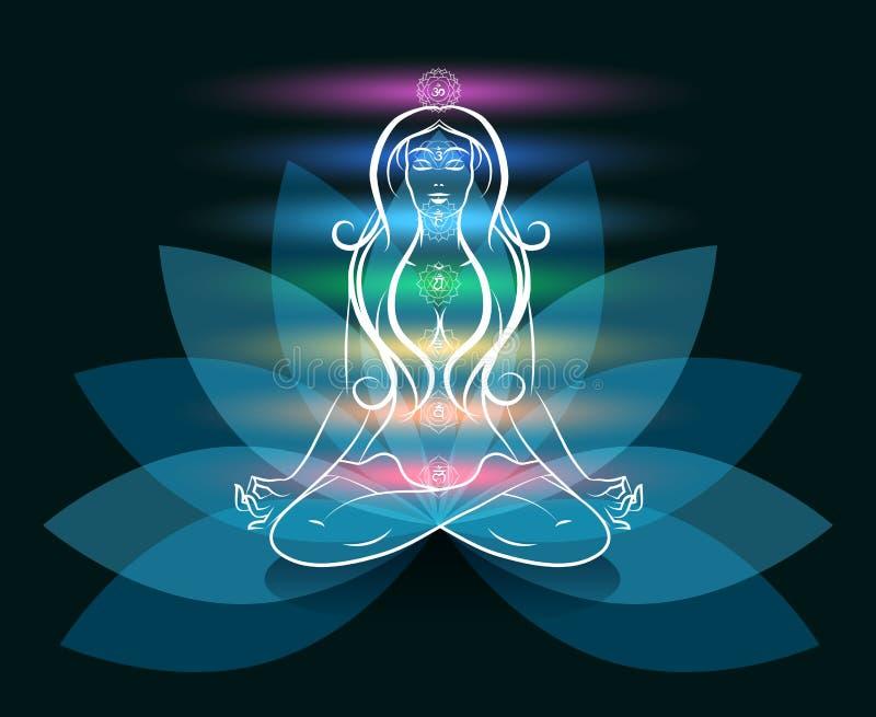 Silhueta dos lótus da mulher da meditação da ioga ilustração royalty free