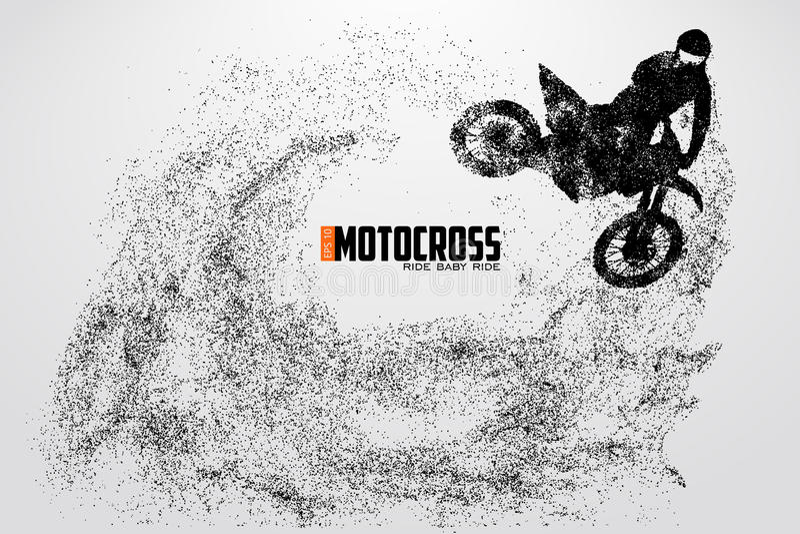 Silhueta dos motoristas do motocross Ilustração do vetor