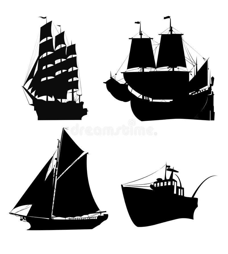Silhueta dos navios ilustração stock