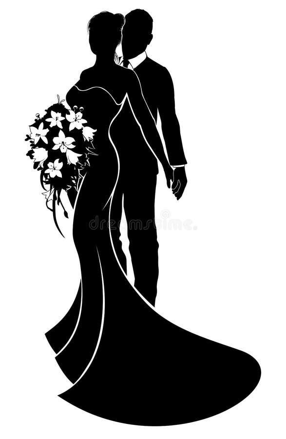 Silhueta dos noivos dos pares do casamento ilustração do vetor