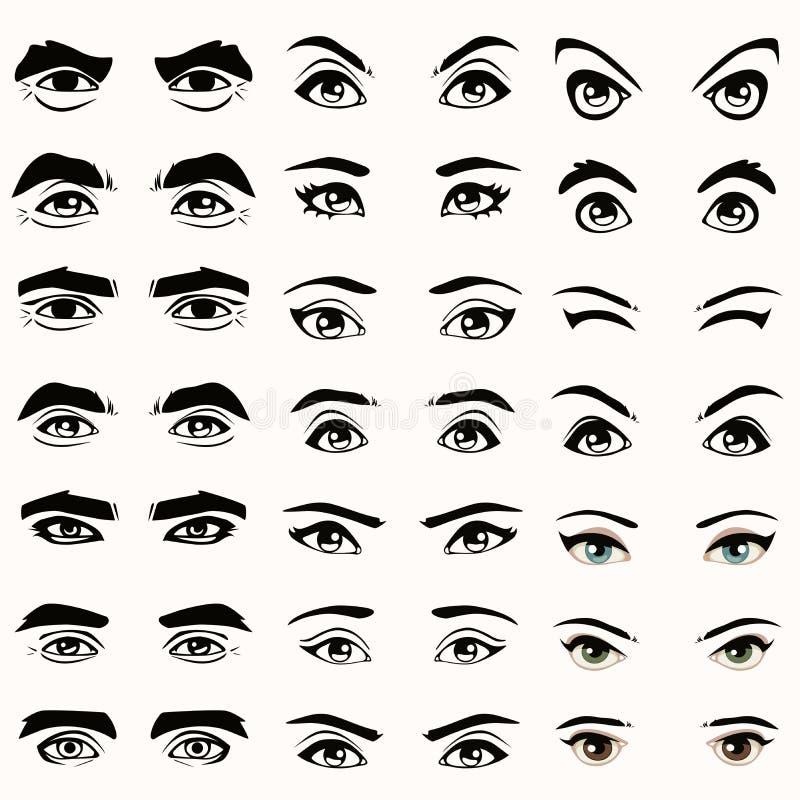 silhueta dos olhos e das sobrancelhas, ilustração royalty free