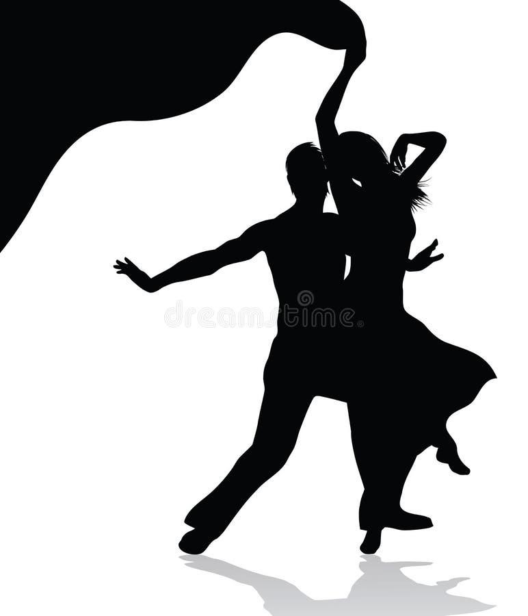 Silhueta dos pares da dança ilustração do vetor