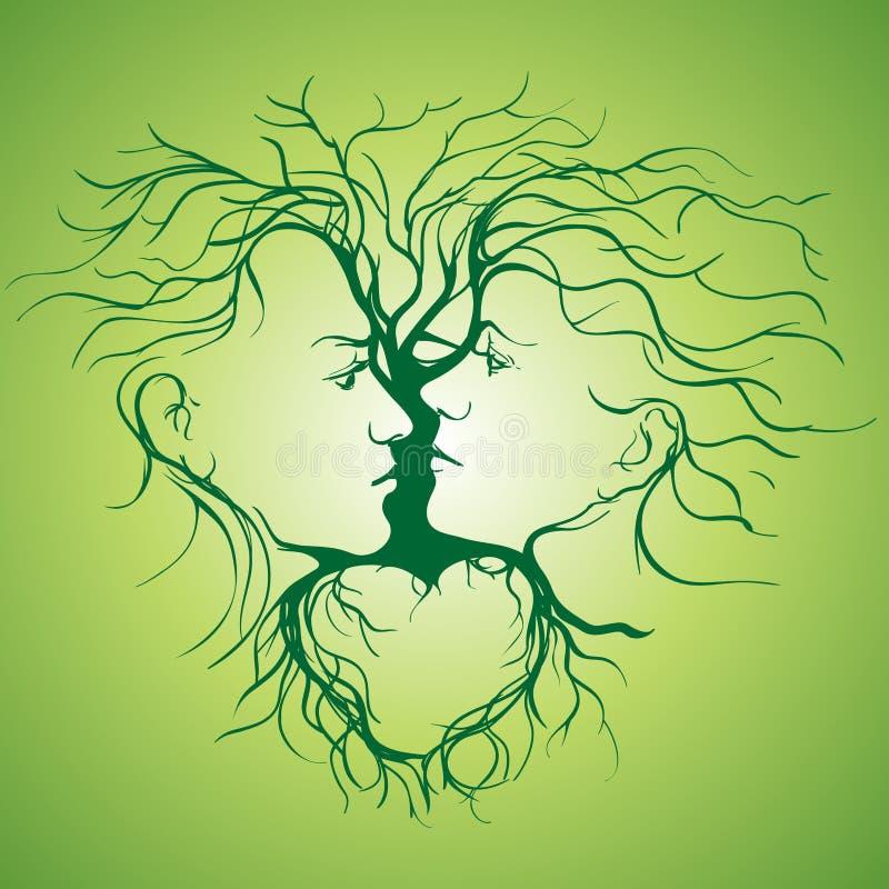 Silhueta dos pares de beijo dados forma pela árvore. ilustração royalty free
