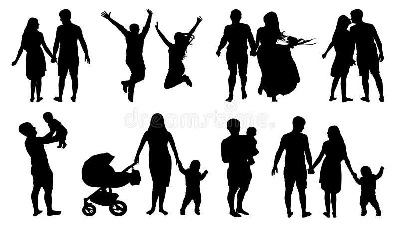 A silhueta dos pares, família com crianças, vetor isolado ajustou-se no fundo branco ilustração stock