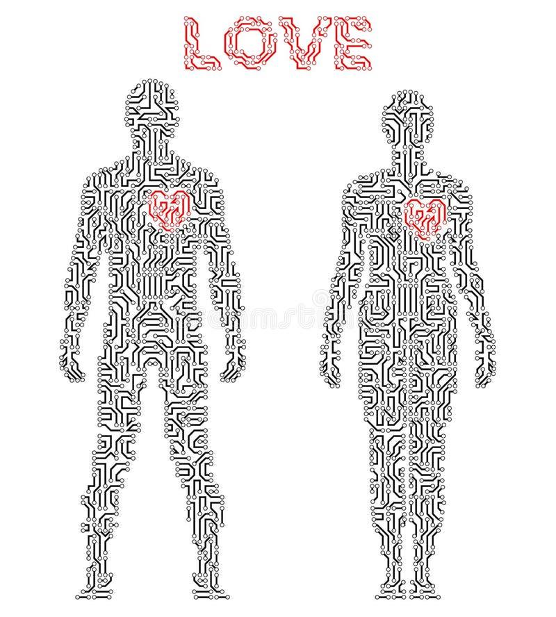 Silhueta dos pares no esquema do circuito Tema do amor ilustração do vetor
