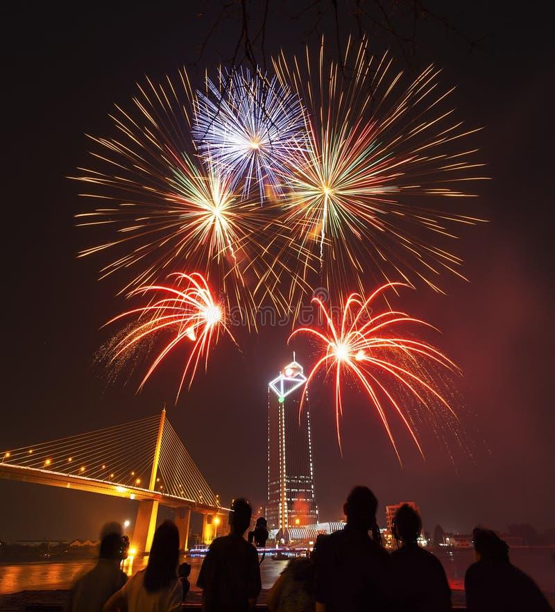 A silhueta dos povos aprecia olhar o fogo de artifício mostrar na noite imagens de stock