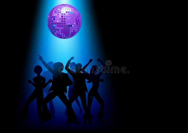 Silhueta dos povos da dança do disco com a bola decorativa do disco ilustração royalty free